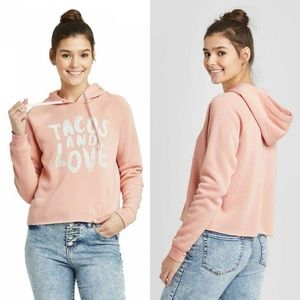 Grayson Threads Tacos & Love Cropped Hoodie